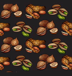 seamless pattern with colored cartoon nuts on dark vector image