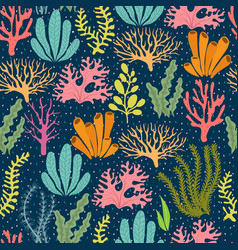 Seaweed seamless pattern sea plants marine vector