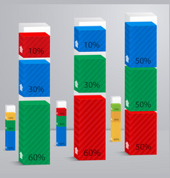 set 3d of columns with percent vector image
