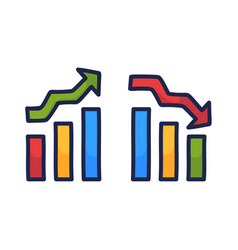 set charts with growth and down economic vector image