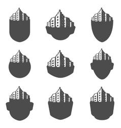 set logos city vector image