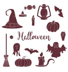 Set of hallowen elements goast pumpkin vector