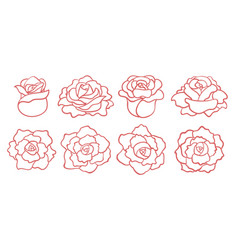 Set of outline roses blooms isolated vector