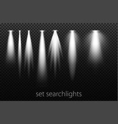 set of white searchlights on a transparent vector image