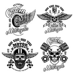 Set racer emblem templates with motorcycle vector