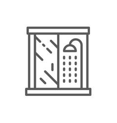 Shower cabin bathroom furniture line icon vector