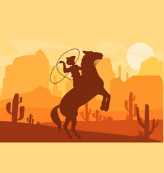 silhouette cowboy vector image