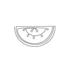 Single continuous line drawing sliced healthy vector
