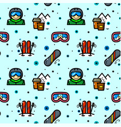 snowboarding seamless pattern vector image