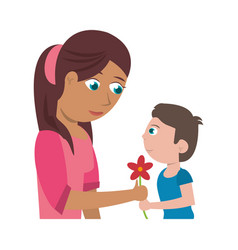 son give flower mother vector image