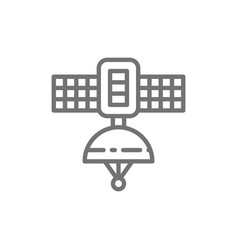 Space satellite station line icon vector