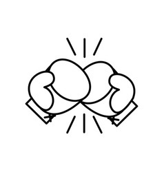 Sport boxing gloves line style icon vector