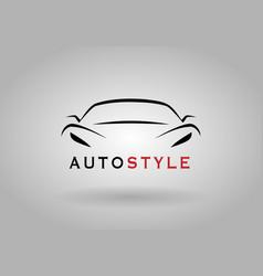 Sports car front logo template vector