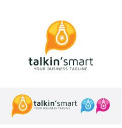 talking smart logo design vector image
