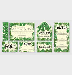 template cards set with watercolor palm leaves vector image