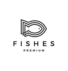 three fishes logo icon vector image