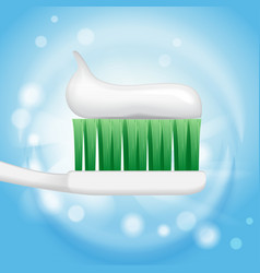 toothpaste ads toothpaste on toothbrush on the vector image
