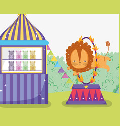 Toys store and lion jumping the fire hoop vector
