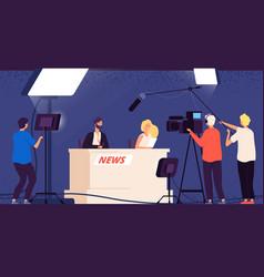 Tv studio news journalists stage desk vector
