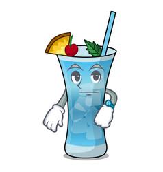 Waiting blue hawaii mascot cartoon vector