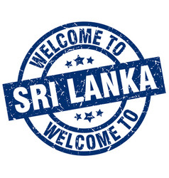 Welcome to sri lanka blue stamp vector