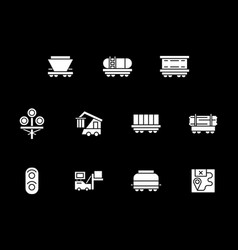 White glyph style icons for railway vector