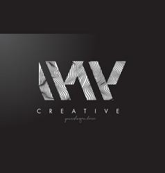 Ww w letter logo with zebra lines texture design vector