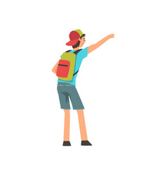 young man with backpack hailing taxi car vector image