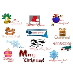 Christmas and New Year holiday greeting card vector image vector image