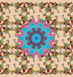 doodle seamless pattern with ethnic mandala vector image vector image