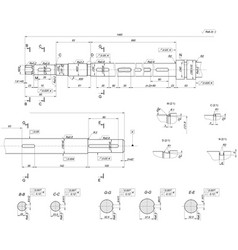Expanded shaft sketch engineering drawing vector