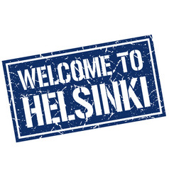 welcome to helsinki stamp vector image