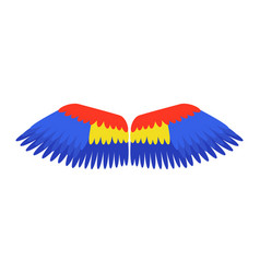 Wings blue isolated animal feather parrot bird vector