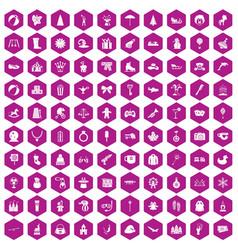 100 children icons hexagon violet vector image