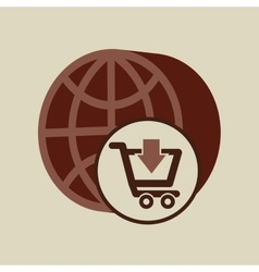 ecommerce with globe earth connection vector image