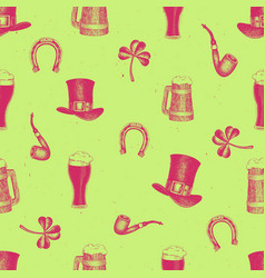 hand drawn seamles pattern with leprechaun vector image