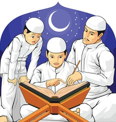 Kids learn to read al quran with their father vector