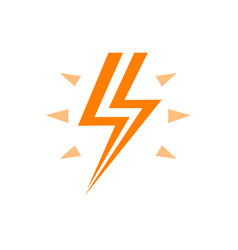 Lightning with flash orange logo energy vector