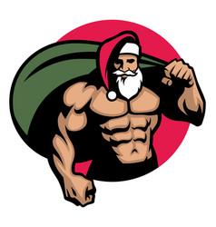 muscular santa claus bring a bag full of vector image vector image