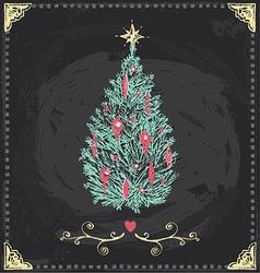 Vintage Christmas Tree Chalkboard Hand Drawn Set vector image vector image