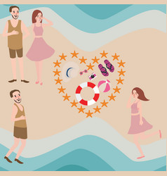 couple and friend enjoy summer beach vector image