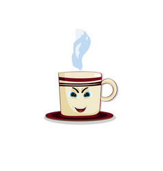 cute cartoon steaming cup with funny emotional vector image