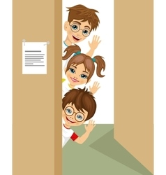 cute children peeking of the door waving vector image vector image