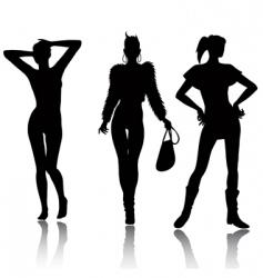 fashion woman silhouette set vector image