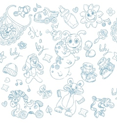 Seamless background its a boy with toys clothing vector image vector image