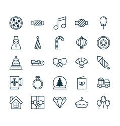 christmas icons set collection of doughnut vector image vector image
