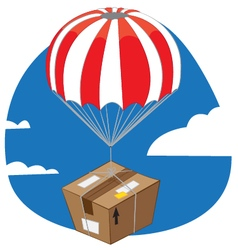 Funny package with parachute landing vector image