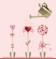 hearts and watering can vector image vector image