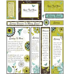 Set of Floral Banners and Adverts in Many vector image vector image