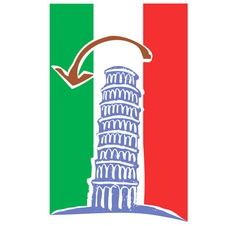 Tower of Pisa and Italian Flag vector image vector image